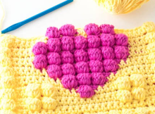 free crochet pattern - crochet bobble heart potholder free pattern