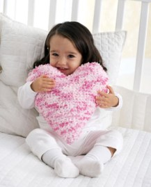 bernat fuzzy heart shaped pillow