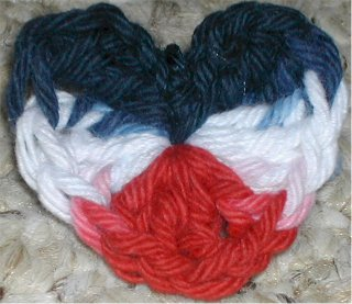 crochet Patriotic Heart Pin or Brooch by Suzetta Williams