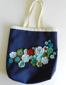upcycled canvas bag with crochet