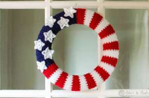 crocheted flag wreath