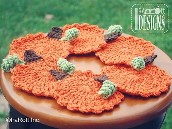 Free Pattern Crochet Pumpkin Coasters Crochet