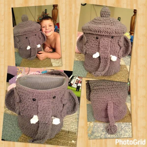 Crochet Pattern Elephant Storage Basket