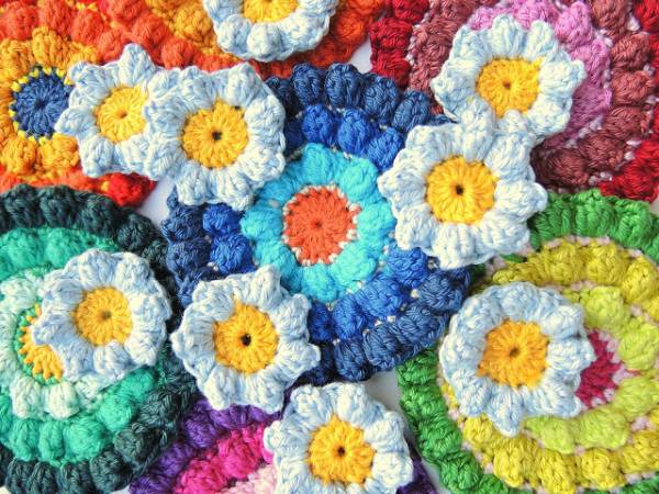Color Burst Crochet Coasters Pattern