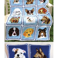 Cuddly Canines Afghan & Pillows Crochet Pattern