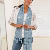 Blue Dahlia Scarf Crochet Pattern