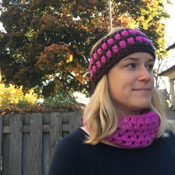 Here is one of the cowls I wore all last winter. I recently made a matching headband, hmmm, could be project number two...