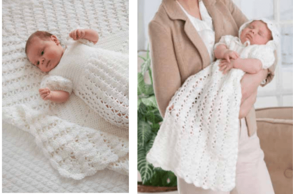 ab67fd8e1 Directions are for two sizes – Newborn and size 3 to 6 months. To make this  gown and blanket you will need 6 balls of Red Heart Baby Hugs Light or ...