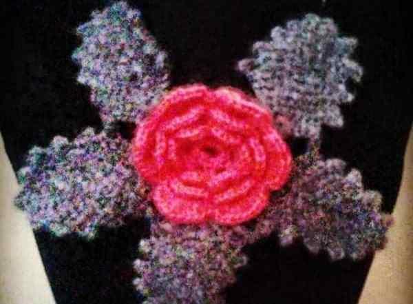 crochet rose with leaf free crochet pattern