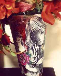 decoupage flower vase