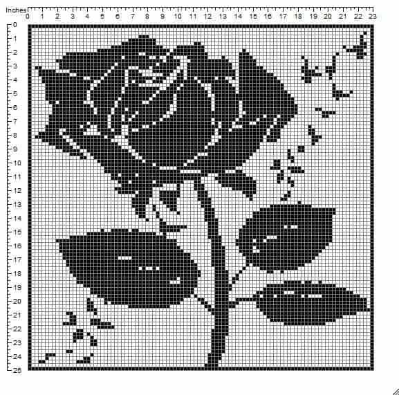 filet crochet rose filet crochet rose free filet crochet rose pattern