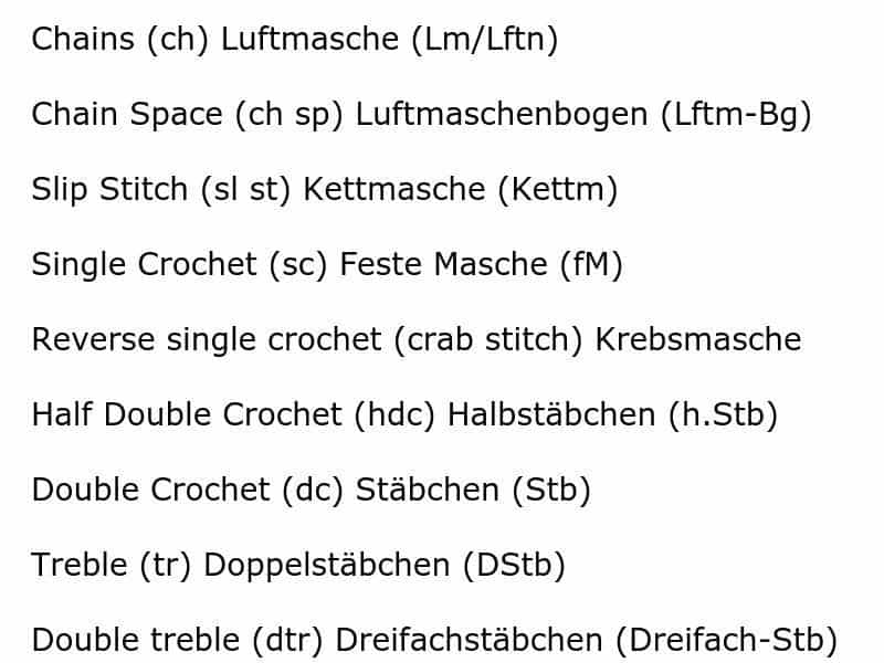 US to German Crochet Stitches