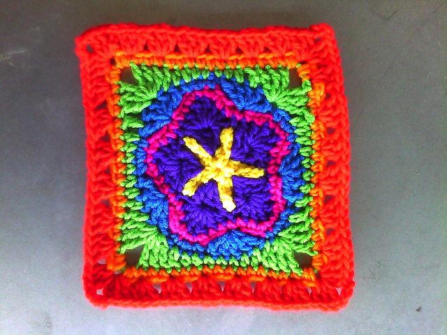 crochet granny square with a center crochet star