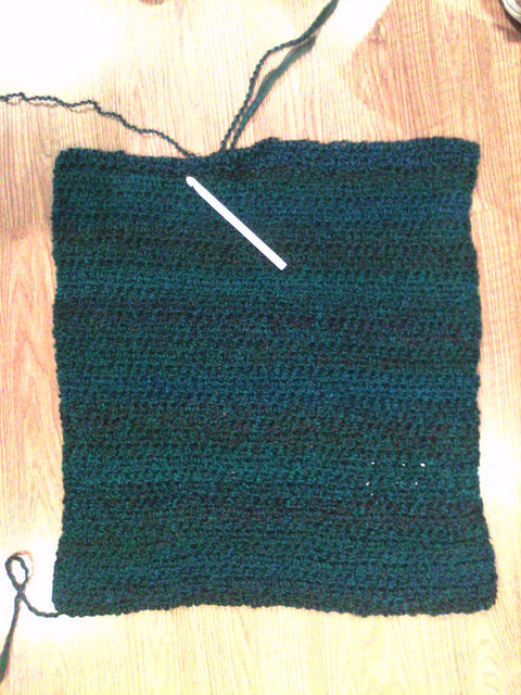 Serene comfort crochet shawl with the large plastic hook that is one of my tools of the trade