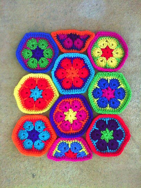 african flower crochet hexagons
