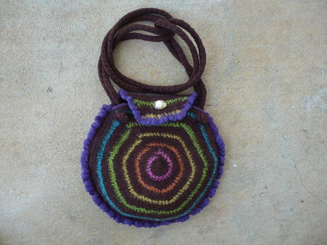fetled crochet purse