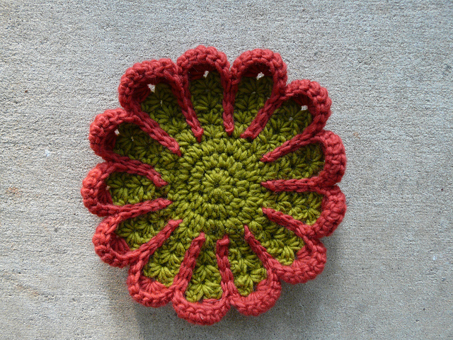 crochet flower crochet potholder