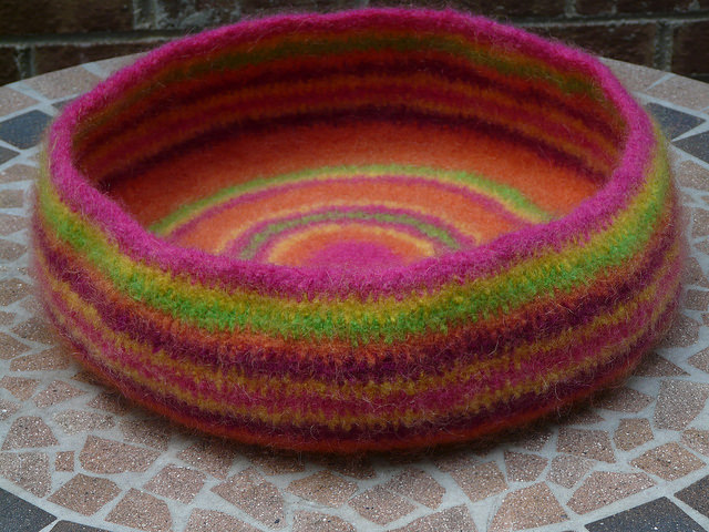 felted crochet cat bed