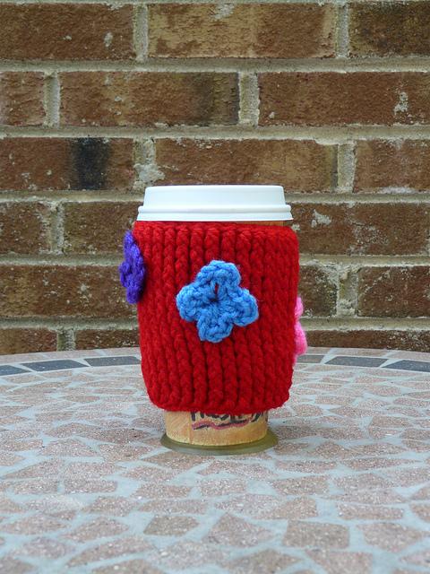 textured crochet coffee cozy, crochetbug, crochet post stitch crochet cozy, coffee, red