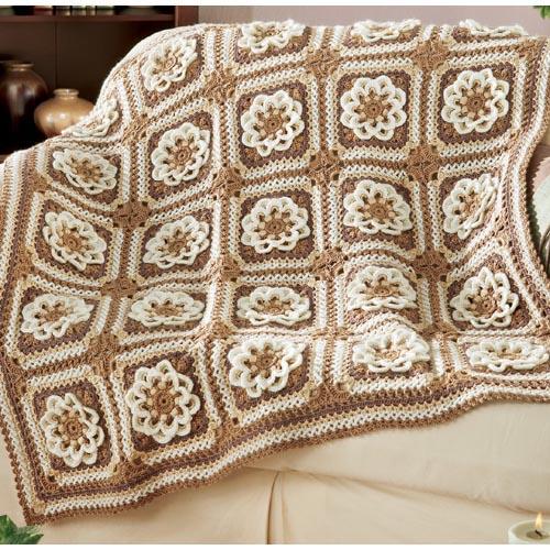 crochet afghan, crochetbug, crochet flowers, crochet squares, textured crochet flowers, textured crochet square