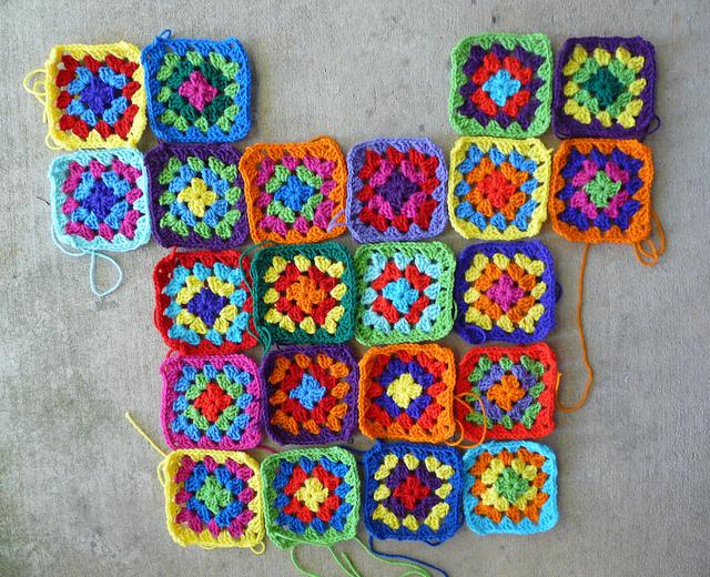 Twenty-two squares done, 72 to go (go) on a go-go granny Sunday