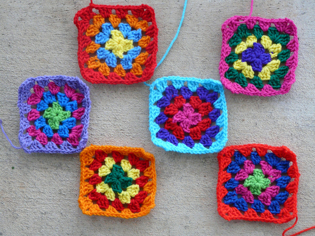 Six new crochet squares for my go-go granny dress after some color indecision