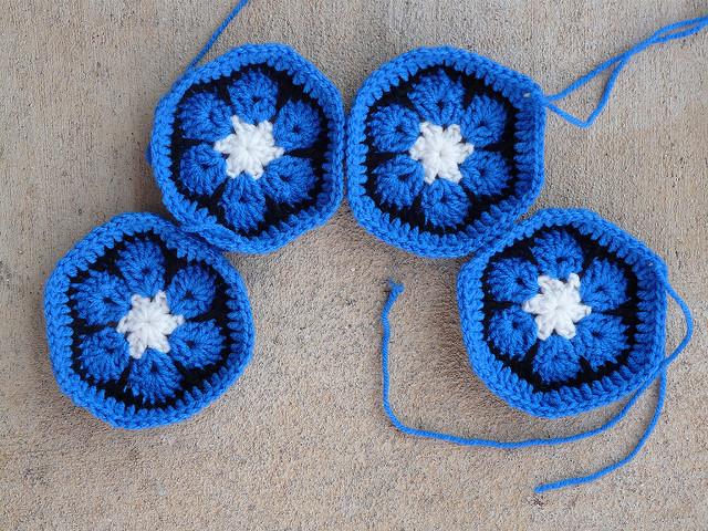 four crochet hexagons, crochetbug, crochet soccer ball, crochet ball, crochet flowers, crochet flower hexagon, African flower crochet hexagon