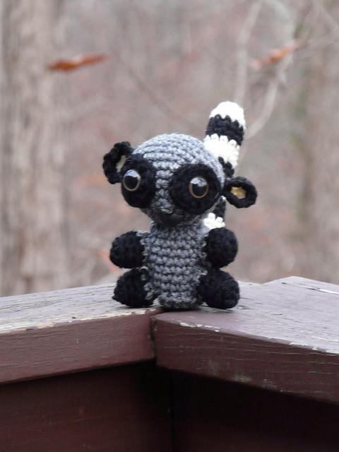 a crochet lemur seeks adventure