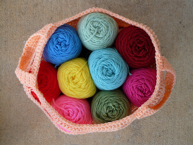 crochet stash basket crochet bag yarn stash