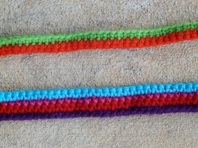 two crochet straps for a crochet purse