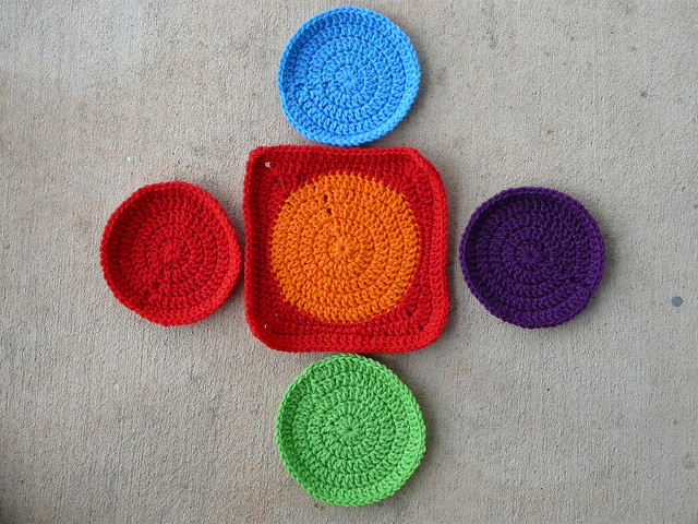 Five crochet circles and one crochet square
