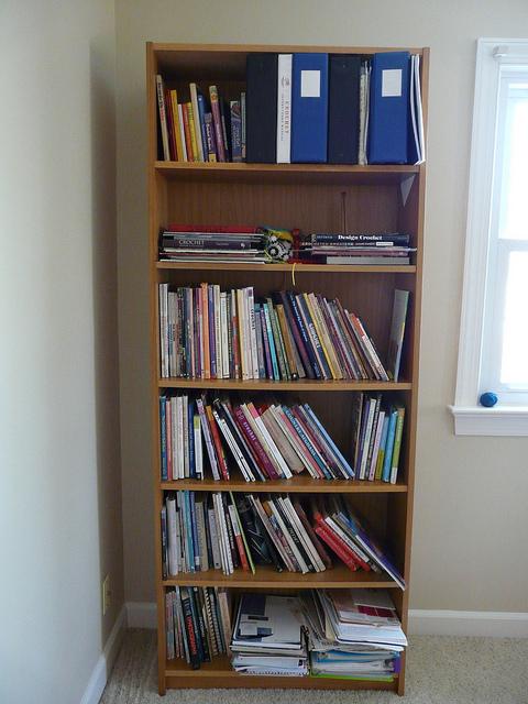crochet books on an ikea billy