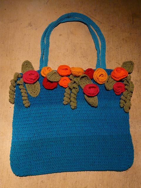 crochet tote ready to felt