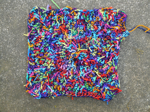 crochetbug, crochet pet mat, crochet mat, use what you have