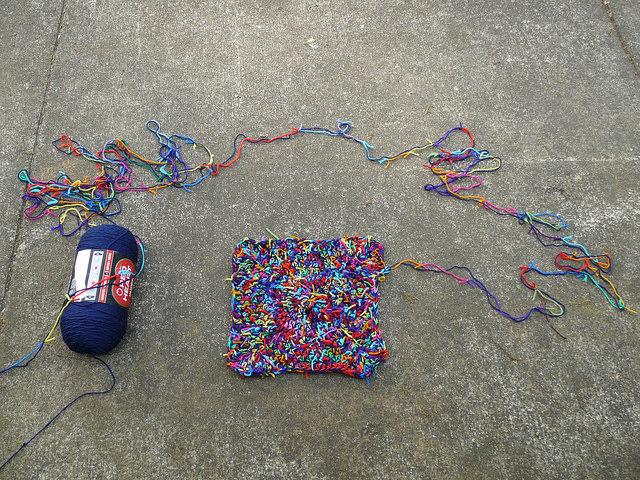 scrap yarn crochet pet mat