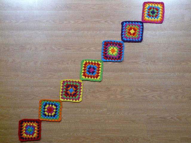 seven crochet granny squares