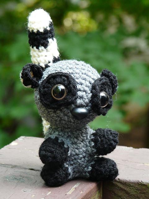 an amigurumi lemur