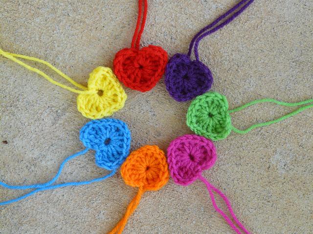 seven crochet hearts