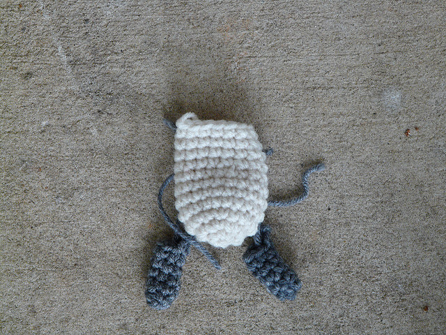 crochet pieces for an amigurumi lamb