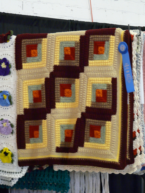 crochetbug, 2010 North Carolina State Fair, prize winning afghan, log cabin crochet motif