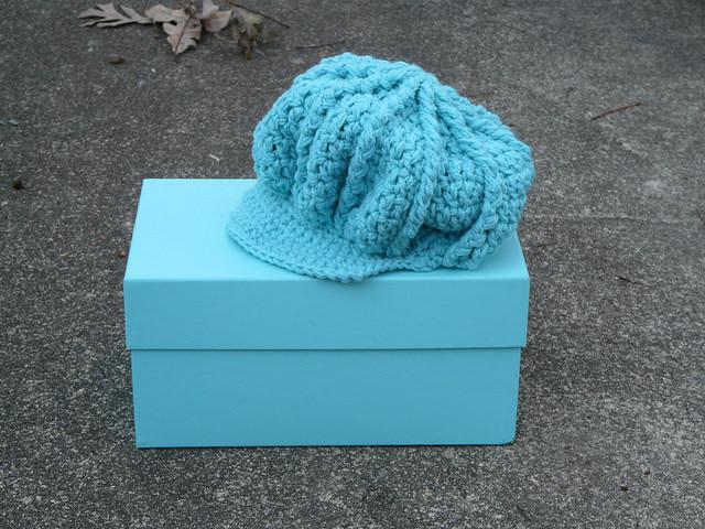 crochetbug, crochet hat, crochet cap, tiffany blue, textured crochet cap, eileen tepper