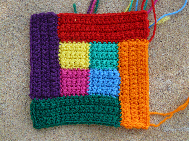 crochet square quilt block