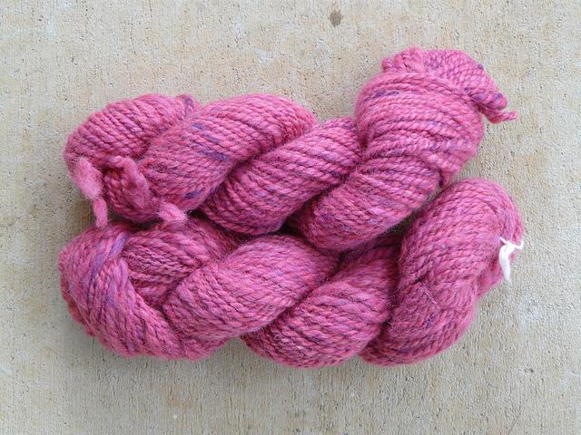 pink handspun yarn