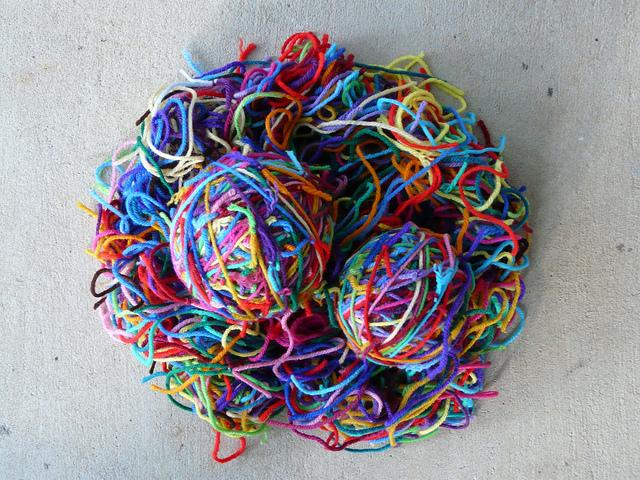 yarn scraps, crochetbug