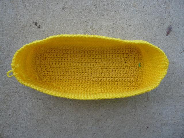 yellow crochet tote