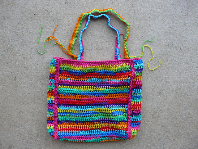crochet stripe crochet bag