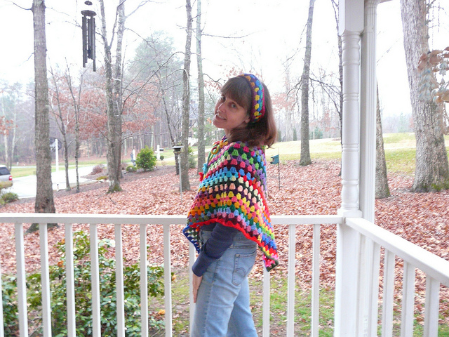 I wear my newly completed über crochet poncho
