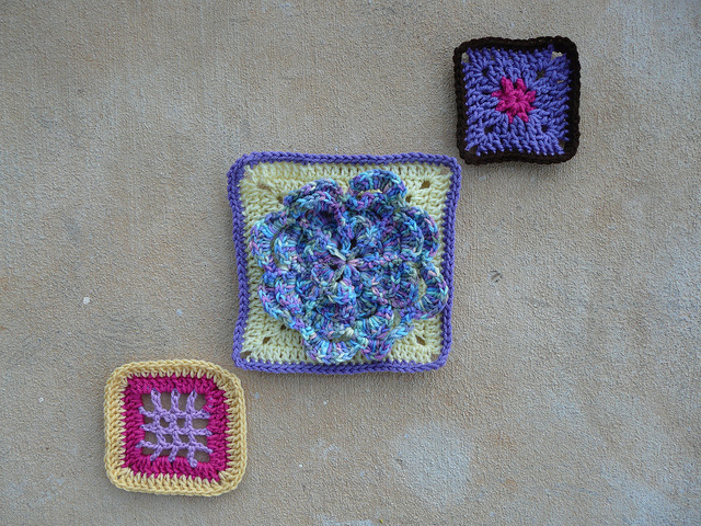 Three assorted crochet squares