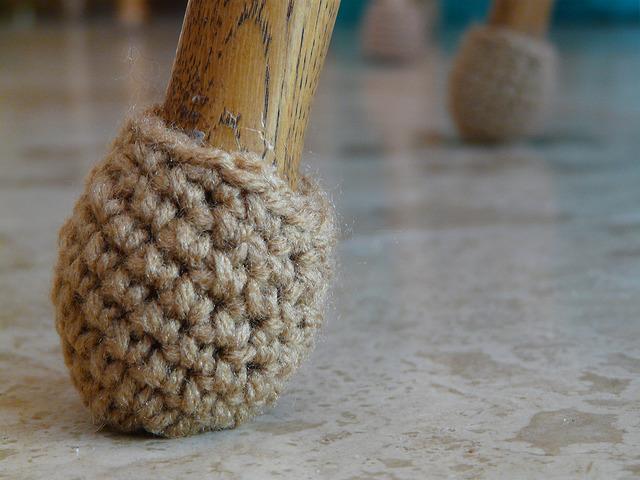 crochet sock for a chair leg