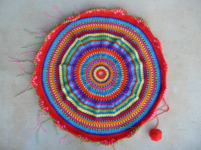 The African bead crochet throw inspired table cozy